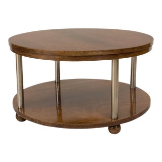 French Art Deco Rosewood Round Coffee Table For Sale