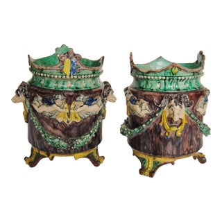 Antique French Majolica Cache Pots with Rams & Cherubs - a Pair For Sale