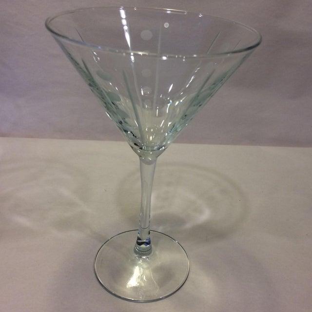 Vintage Etched Crystal Martini Glasses - Set of 4 - Image 4 of 11