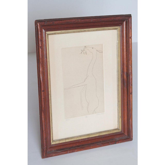 Minimalism Etching of a Deer by Beth Van Hoesen (1926-2010) California For Sale - Image 3 of 13