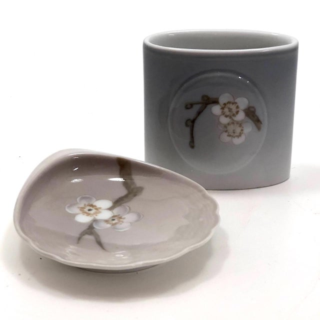Bing & Grondahl Denmark Porcelain Ashtray and Cigarette Holder With Blossom on Branch - a Pair For Sale - Image 12 of 13