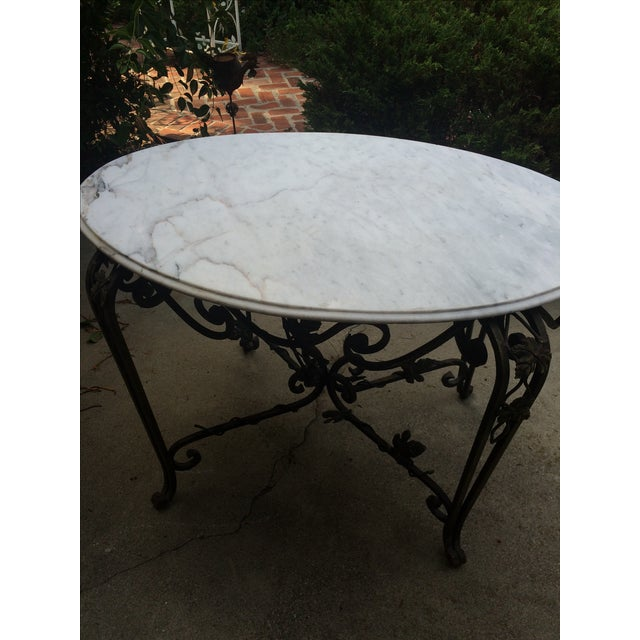 Solid Marble Top Beveled Wrought Iron Table - Image 7 of 10