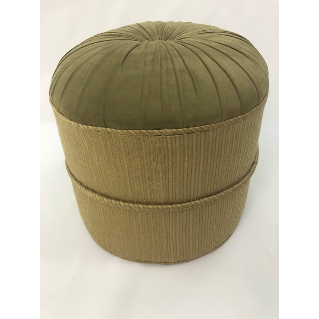 Art Deco 1990s Vintage Schnazzy Oval Ultrasuede Ottoman Pouf For Sale - Image 3 of 8