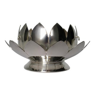 English Silver Plate Lotus Flower Vase With Frog