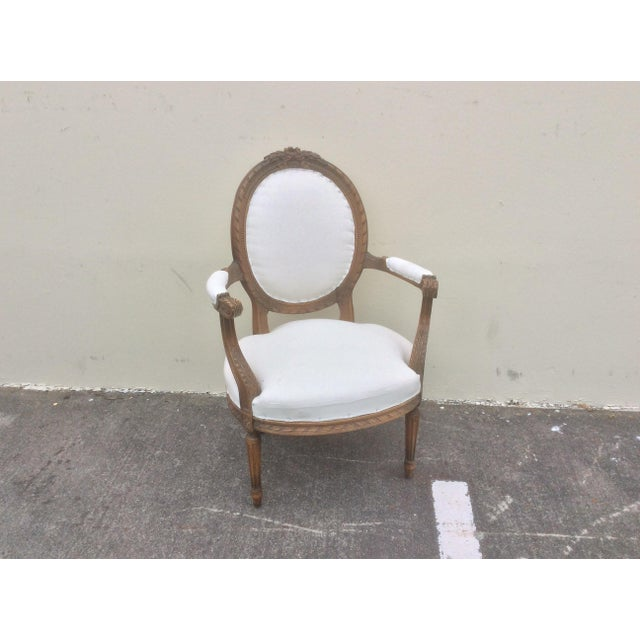 Wood French Arm Chair With Rounded Back For Sale - Image 7 of 10