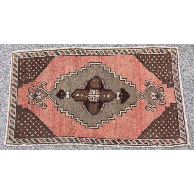"Vintage Turkish Oushak Tribal Rug- 1'7"" x 2'10"" - Image 3 of 5"