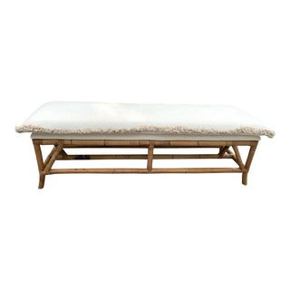 Bamboo Upholstered Long Bench For Sale