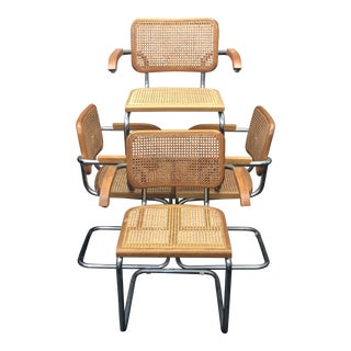 "Mid-Century Marcel Breuer for Knoll Chrome and Caning ""Cesca"" Chairs - Set of 4 For Sale"