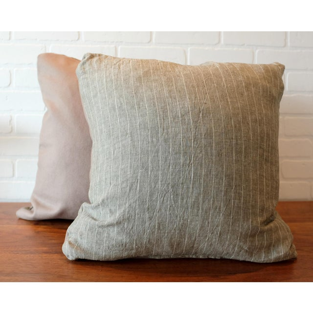 Contemporary Rogers & Goffigon Washed Linen Striped Pillow Covers - A Pair For Sale - Image 3 of 7