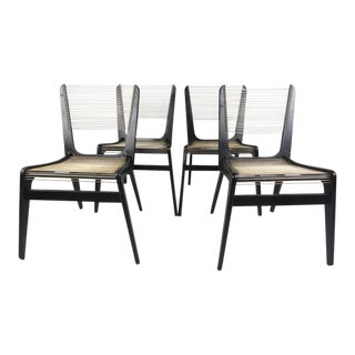 Set of Mid-Century Modern Cord Chairs by Jacques Guillon