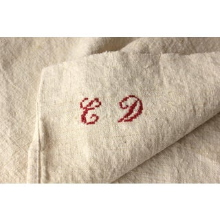"Antique 1900s French ""CD"" Monogram Washed Linen Hand Towel For Sale"
