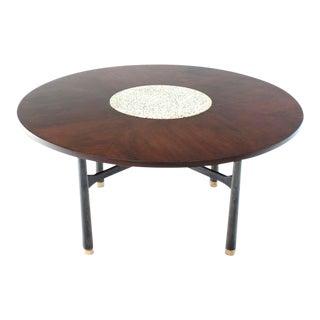 Mid-Century ModernHarvey Probber Round Walnut Game/Center Table With Travertine Insert For Sale