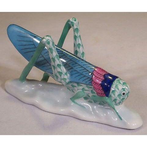 Boho Chic Herend Green Fishnet Grasshopper Figurine For Sale - Image 3 of 6