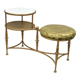 Vintage Mid Century Italian Neoclassical Iron Glass Telephone Stand Gossip Bench Swivel Stool For Sale