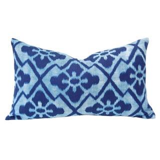 Vintage Indigo Ikat Textile Custom Pillow