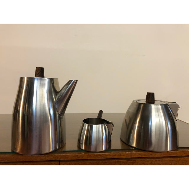 Mid-Century Modern Vintage Danish Stainless and Rosewood Coffee and Tea Set Made in Denmark by Lundtofte For Sale - Image 3 of 12