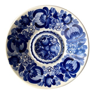 """Hand-Painted 15"""" Tole Centerpiece/Wall Bowl-Signed For Sale"""