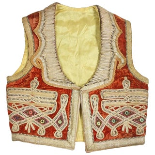 19th Century Antique Ottoman Red and Gold Thread Embroidered Vest For Sale