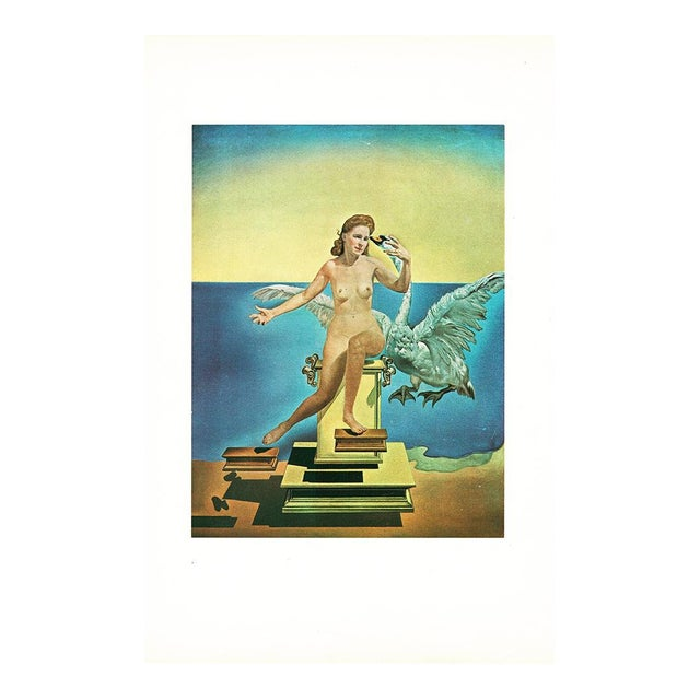 Rare, gorgeous vintage tipped-in lithograph after Leda Atomica (1945) painting by Salvador Dalí from limited edition of...