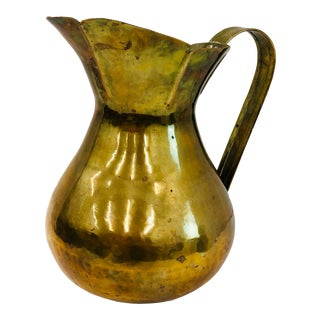 Large Antique Brass Pitcher For Sale