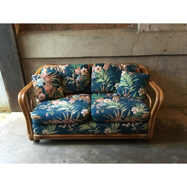 Vintage Rattan & Tropical Print Fabric Upholstered Loveseat - Image 2 of 5