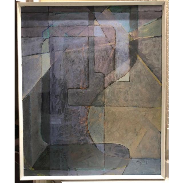 "1980s Vintage Mariko Nutt ""Wine Bottles Series IV"" Abstract Modern Oil Painting For Sale In Saint Louis - Image 6 of 6"