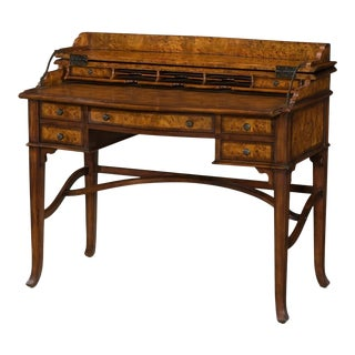 Victorian-Style Burl Campaign Desk For Sale