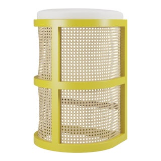 Isabella Bar Stool - Citron, Optic White Linen For Sale