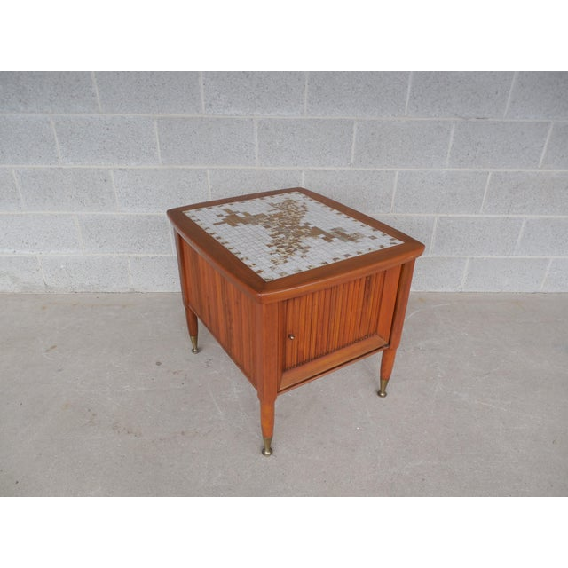 Mid-Century Modern Mid Century Modern Mosaic Tile Top End Table For Sale - Image 3 of 8