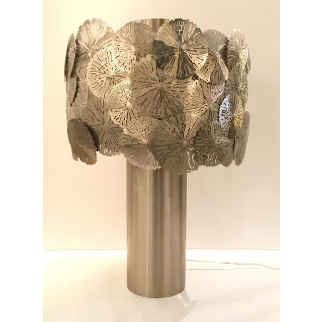 Modern Studio a Home Lily Pad Silver Metal Table Lamp For Sale In Atlanta - Image 6 of 6