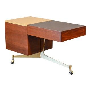 Tri-Leg Brass and Walnut Rolling Bar Cart For Sale