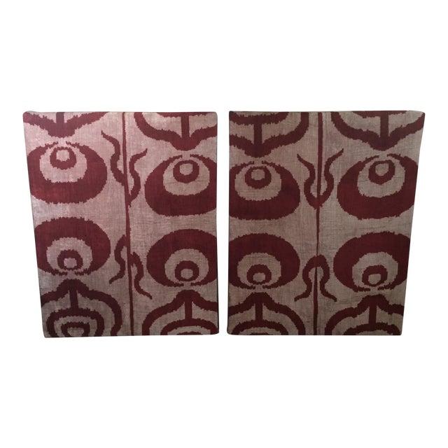 Silk Velvet Ikat Ottoman Fabric Wall Art Hangings - A Pair | Chairish
