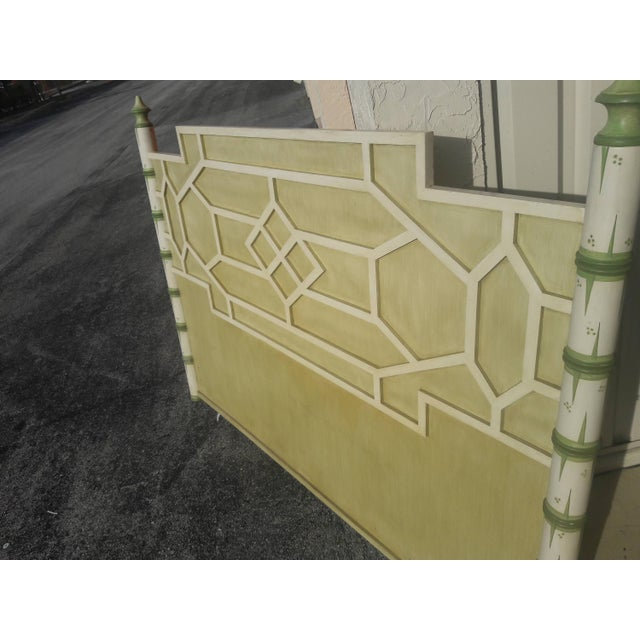 Asian Solid Wood Queen Geometric Pagoda Headboard For Sale - Image 4 of 6