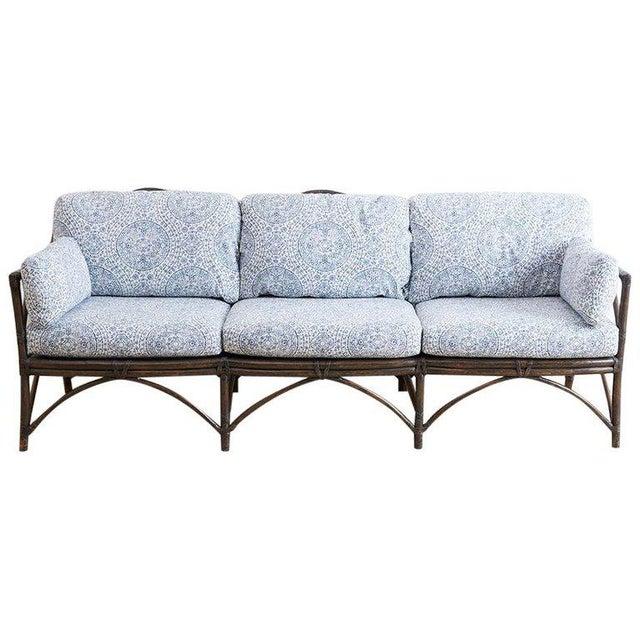 Mcguire Blue And White Upholstered Bamboo Rattan Sofa Chairish