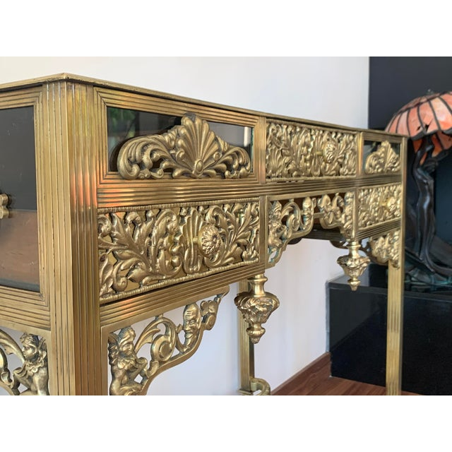 Bronze 19th French Bronze Mirrored Dressing Table or Vanity With Three Drawers For Sale - Image 8 of 12