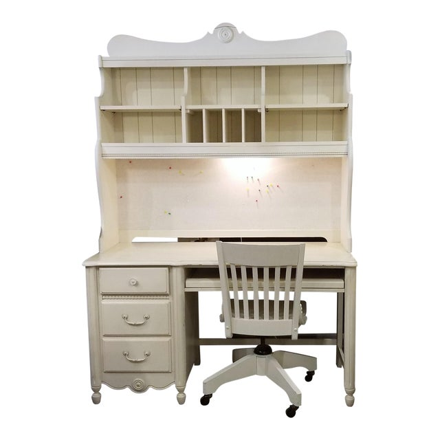 Stanley Furniture Shabby Chic White Desk With Hutch Chair Set Of 3
