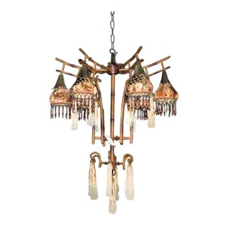 Kathleen Caid Hand Made Asian Pagoda Style Chandelier With Beaded Shades For Sale