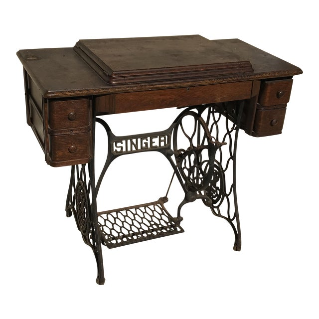 Antique singer sewing machine table chairish antique singer sewing machine table watchthetrailerfo