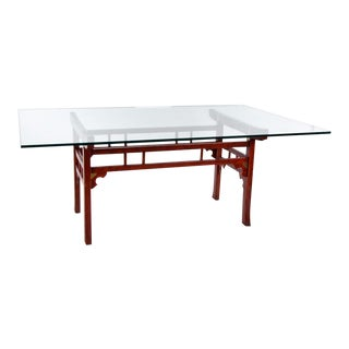 Thomasville Chinese Style Red Lacquer Dining Table For Sale