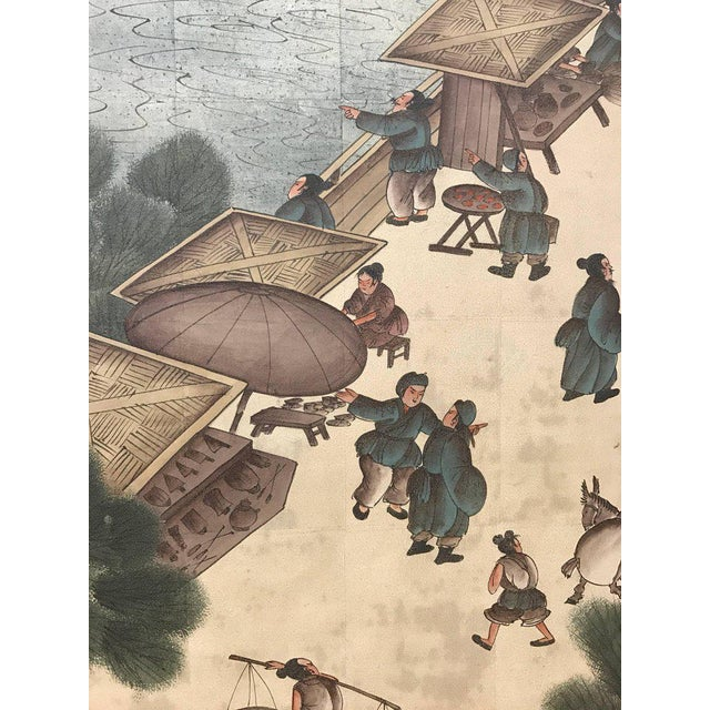 Vintage Chinese hand painted room divider depicting the Yellow bridge war in China on silver leaf background.