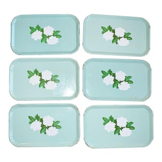 Mint Green Tole Floral Magnolia Decorative Snack Trays - Set of 6 For Sale
