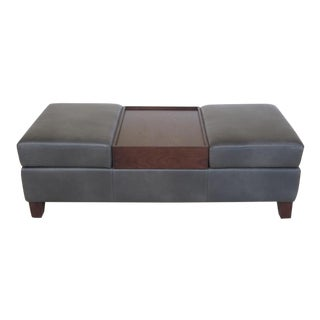 Modern Grey Leather Coffee Table