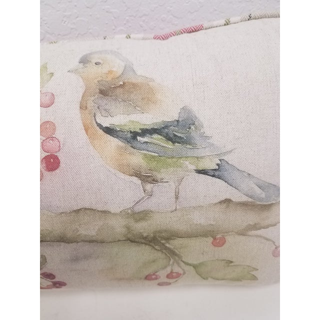 English Two Birds With Berries Pillow - Made in Wales For Sale - Image 3 of 11