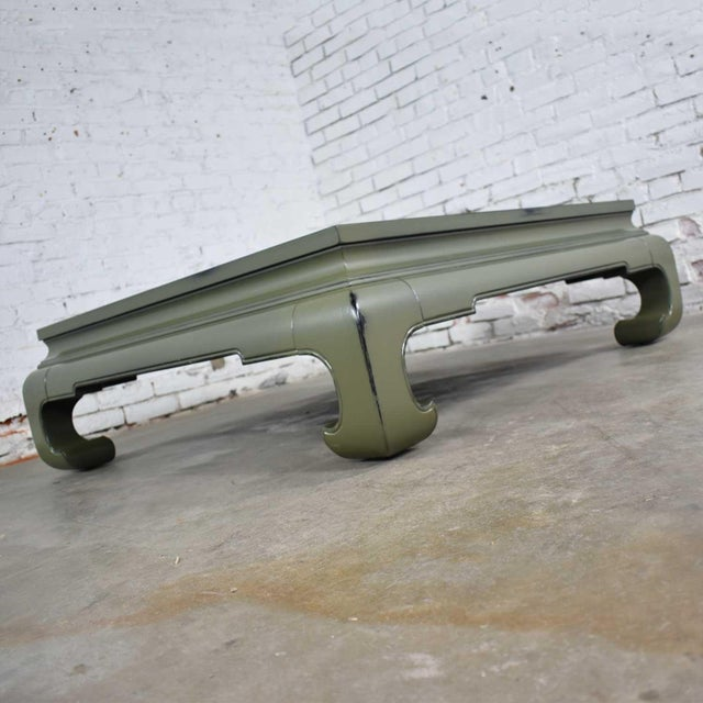Mid 20th Century Monumental Square Asian Ming Style Lacquered Coffee Table in Sage Green For Sale - Image 5 of 13