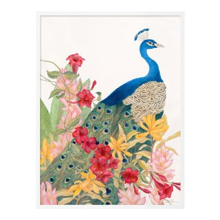 Peacock Paradise by Allison Cosmos in White Framed Paper, Medium Art Print For Sale