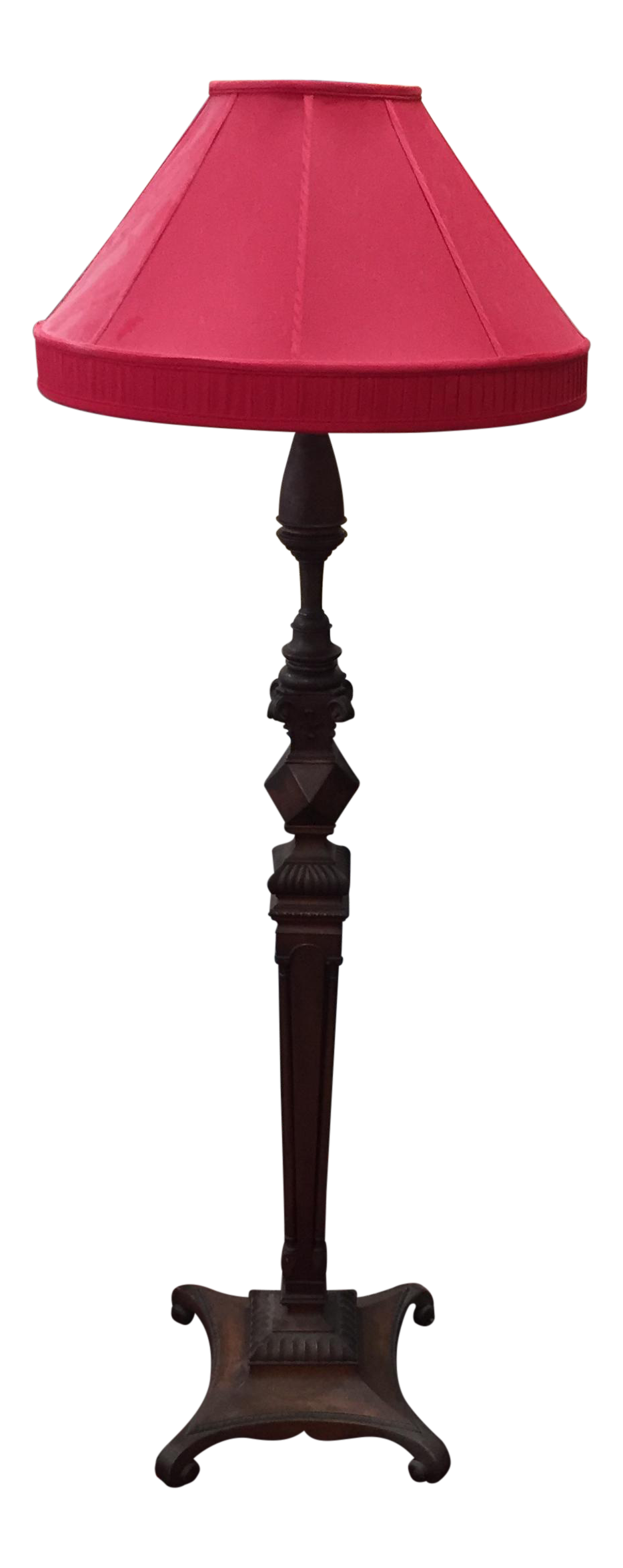 Carved Mahogany Floor Lamp