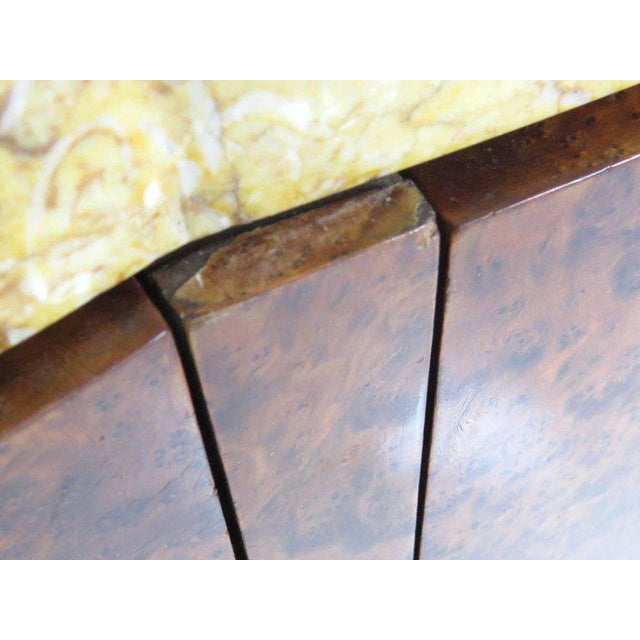 Brown Mid Century Modern Burl Walnut Inlaid Marble-Top Sideboard With Mirror For Sale - Image 8 of 11