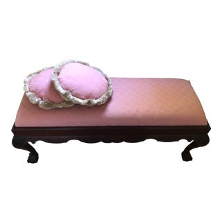 1960s Vintage French Chippendale Mahogany Ball and Claw Long Bench For Sale