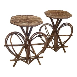 1980s Adirondack Style Rustic Twig Tables With a Heart Motif - a Pair For Sale