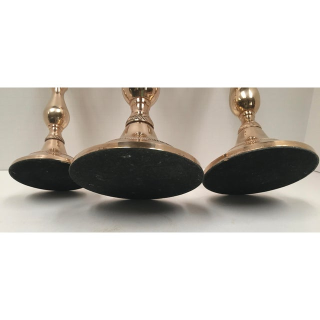 Vintage Brass Candle Holders - Set of 3 For Sale In Dallas - Image 6 of 8